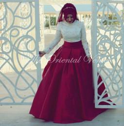 Wholesale Burgundy Taffeta Lace Ball Gown Muslim Wedding Dresses Turkey with Hijab High Neck Long Sleeve Dubai Arabic Bridal Gowns Robe de marriage