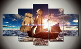 Framed Modern Wall Art Home Decoration Printed Oil Painting Pictures HD Canvas Prints Sailing Boat on the Sea Landscape F 1382