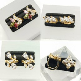 Wholesale Deluxe wedding couple Earrings party AAA zircon crystal CC K color champagne fashion brand jewelry women a01