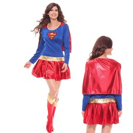 Wholesale Sexy Women Superhero Supergirl Costume Wonder Woman Halloween Superwoman Hen Party Fancy Dress Outfit with Cape