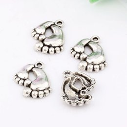 Wholesale Hot Footprint Charms Antique Silver Cute Mother and Child foot pendants charms x20mm