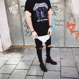 Wholesale harajuku japan street hiphop men s fashion clothes kpop skate kanye west famous brand clothing t shirt Metallica fear of god tee