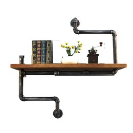 Wholesale DIY Industrial Retro Wall Mount Iron Pipe Shelf Storage Shelving Bookshelf Industrial Vintage Iron Pipe Tier Metal Shelf with towel rack
