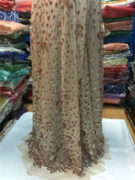 Pretty wedding party sequins design French tulle lace material African net lace farbic for dress QN58(5yards lot)