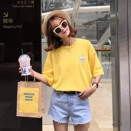 Wholesale harajuku shirt women tops summer korean ulzzang cute japan kawaii rock banana bottle embroidered best friend t shirt women