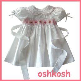 Wholesale Y girls Hand crocheted dress print floral smocked dress manual fold flower ingot collar toddler dress disfraces ninas