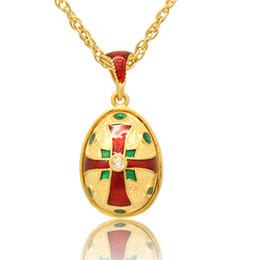 hand craft enamel Religion Maltese Cross pendant charm necklace Faberge Egg STYLE Pendant for Easter day