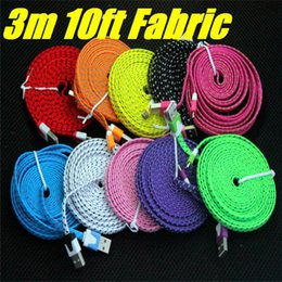 1M 2M 3M Micro USB Fabric Braided Flat Data Sync And Charger Cable Fiber Flat Woven Charger Cord For All Mobile Phone