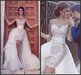 Sheath Crew Sheer Bridal Wedding Gowns 2016 Short Long Sleeve Lace beach Wedding Dresses With Detachable Skirt