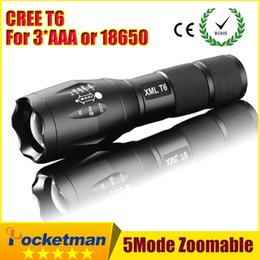 Wholesale High Power CREE XML T6 Modes Lumens LED Flashlight Waterproof Zoomable Torch lights for xAAA or x18650 battery