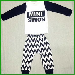 Wholesale MINI SIMON black white boys outfits summer children clothing suits long sleeved t shirts letters print geometric long pants cheap price