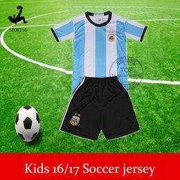 Wholesale Argentina kids kit best thai soccer jerseys Euro Cup children football shirt short boys camisa de futebol uniforms