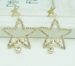 Korean fashion zircon LOVE five pointed star female Korean earring sexaggerated mixed batch