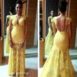 Beautiful Plunging Neckline Forma Prom Dress Good Quality Yellow Mermaid V Neck Lace Backless Evening Dress Party Gown