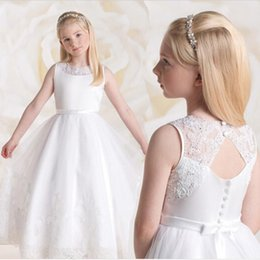 White First Holy Communion White ivory long flower girl dress open back holy communion dress girls pageant evening gowns vestido de festa in