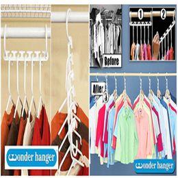 8pieces 1set Space Saver Wonder Magic Hanger Clothes Closet Organizer Hook Drying Rack Multi-Function Clothing Storage Racks