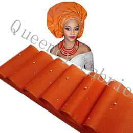Wholesale Unique Aso Oke with beads stones headtie African Gele Ipele Head Tie Wrapper one piece17 meter