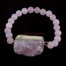 Wholesale 10Pcs Charm Gold Plated Natural Druzy Rose Quartz Crystal Stone With Rose Quartz Round Beads Bracelets Jewelry