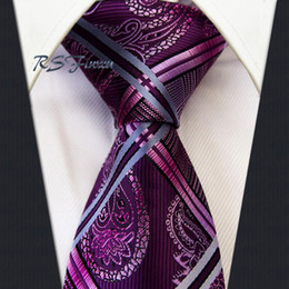 Free Shipping Paisley Pink rose red Silver 100% Silk New Jacquard Woven Classic Man's Tie Necktie Wedding