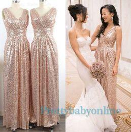 Wholesale Sparkle Royal Blue Dress - 2016 Sparkling Rose Gold Bridesmaid Dresses Maid of Honor Formal Gowns Wedding Party Guest A Line V Neck Backless Long Vestidos De Festa