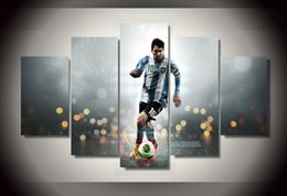 5 Piece Unframed HD Printed football messi Group Painting wall art Canvas Print room decor print poster picture canvas Free shipping ny-441