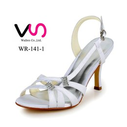 Wholesale Stilettos Shoes China - 2016 Nice Sandal Handmade Dyeable Satin Made in China Middle Hight Heel Women Bridal Wedding Shoes From Euro size 35-42