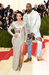 Kim Kardashian Sliver Celebrity Dresses Met Gala 2019 Red Carpet Long Sleeve Mermaid Beaded Crystal Celebrity Dresses Sexy Pageant Dresses
