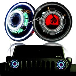 Wholesale 2PCS HID quot W LED Projector Headlight for Jeep CJ Wrangler JK Led Driving Light with H4 H13 Headlights