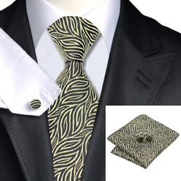 Brown Yellow Classic Men's Tie Cufflinks Hanky Jaquard Wovn Silk Tie Clearance Sale Formal Wedding Tie for Men N-1158