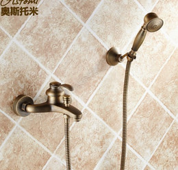 Wholesale Retro faucet Antique copper bath crock bibcock all Into the wall hot and cold shower High quality villa and hotel faucets
