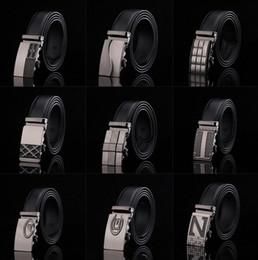 Cinturones de cuero en Línea-cinturón de 20PCS HHA779 caliente 77 diseños hombre de la moda cinturones de cuero genuino de la correa de la cintura de la hebilla automática de las bandas de ocio Negro correas de cuero de negocio