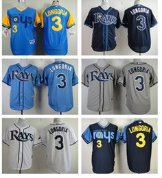 Wholesale HOT SALE Tampa Bay Rays Jersey Evan Longoria Jersey White Gray Blue Baseball Jersey Embroidery logo Cheap