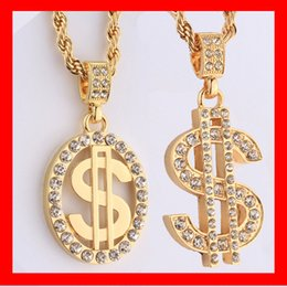 Wholesale Top Brand K Gold Plated Coin Dollar Diamond Pendant Necklaces Nightclub The Influx of People HIP HOP Jewelry With MM Rope Chain