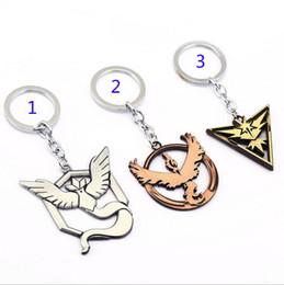 Poke go Team Valor Instinct Mystic Metal Keychain toys Children Zinic Alloy Poke Ball Pikachu keyring B001