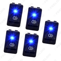LEEWA 5pcs Universal Car Boat Van Fog Light Rocker Switch LED Dash Dashboard Blue Light #1600