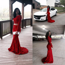 Gorgeous 2019 Shiny Red Full Lace Two pieces Evening Dresses Sheer Long Sleeves Mermaid Prom Dresses Custom Made Formal Party Gowns