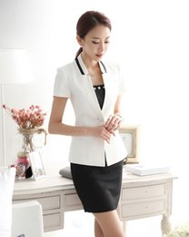 Wholesale-Summer Formal Ladies White Blazer Women Business Suits Formal Office Suits Work Skirt and Jacket Sets Beauty Salon Uniforms