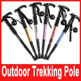 Wholesale 1x T handle section telescopic walking Cane Aerial Aluminium Alloy alpenstock antishock hiking climbing stick trekking pole