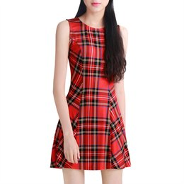 Wholesale Women s Casual Dresses Brand New Sleeveless Check A Line Plaid Dresses Red Chuvivi Unique Fashion Apparel