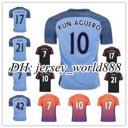 Wholesale Top Thai quality Manchester City Home blue Soccer Jersey RD KUN AGUERO KOMPANY TOURE YAYA DE BRUYNE Away football shirt