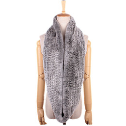 Free Shipping Women Scarf Hand Knitted Rex Rabbit Fur Big Collars Real Fur Loop Scarf Muffler Women's Winter Neck Ring