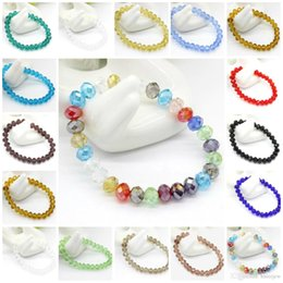 Wholesale Charm Bracelets Faceted Crystal Bead Silver Plated Diamante Rhinestone Beaded Stretch Bracelet Woman Jewelry Gift Bead Crystal Bracelets