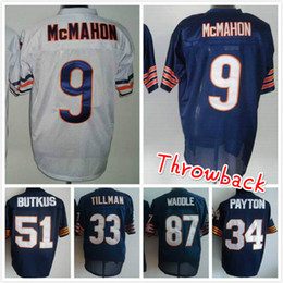 Wholesale Throwback Bears Charles Tillman Jim McMahon Dick Butkus Tom Waddle Walter Payton cheap men football jerseys