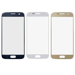 Скидка синяя панель Передний экран Наружная стекло объектива Панель Замена части для Samsung Galaxy S7 G930 SM-G930 Синий белого золота