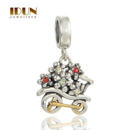 Wholesale Charms Silver Original Vintage Christmas Bicycle with Crystal Flower For Pandora Style Bracelet Children Lover Gifts Jewelry S266