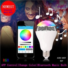 Wholesale Wireless Bluetooth Speaker Smart LED Light Bulb Dimmable Multicolored Color Changing Lights Desk Lights Bar Sinks Smartphone
