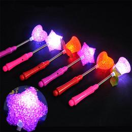 Wholesale Star Shaped Glow Sticks - LED Glow Star Wand Mixed Rose Heart Shaped Stick Flashing Light Concert Party Novelty Items Led Toys Wholesale 500pcs