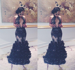 Sexy Middle Split Cut Away Black Lace Evening Dresses Halter Flouncing Ruffles Prom Dresses 2016 Mermaid Party Gowns