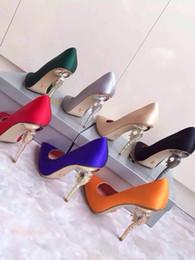 Wholesale Women shoes fasion item high end wear silk on vamp sheepskin inside genuine leather tread heel high cm seven colour to choose