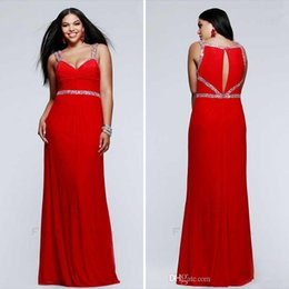 Wholesale Bling Bling Crystals Plus Size Evening Red Carpet Dress Designer Faviana New Modern V Neck Mermaid Simple Long Chiffon Prom Party Gown